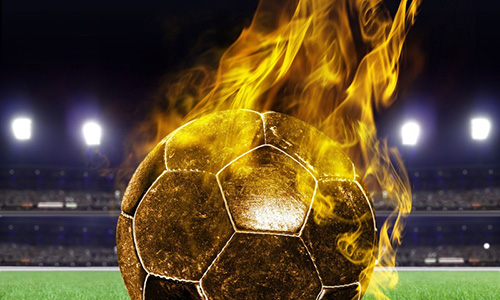燃えるサッカーボール